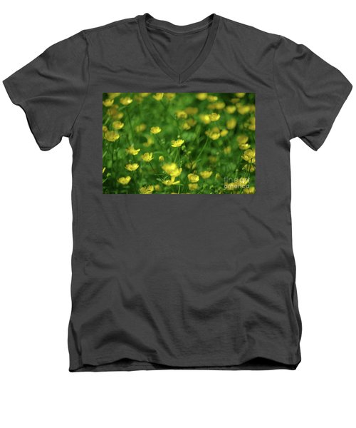 Buttercup Field- Butler Creek Trail- Gresham- Oregon Men's V-Neck T-Shirt