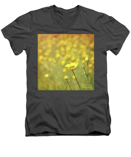 Men's V-Neck T-Shirt featuring the photograph Buttercups by Lyn Randle