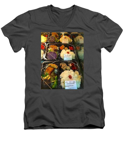 Men's V-Neck T-Shirt featuring the photograph Butterfish Bento Box by Brenda Pressnall