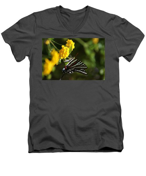 Butterflies And Blooms Men's V-Neck T-Shirt