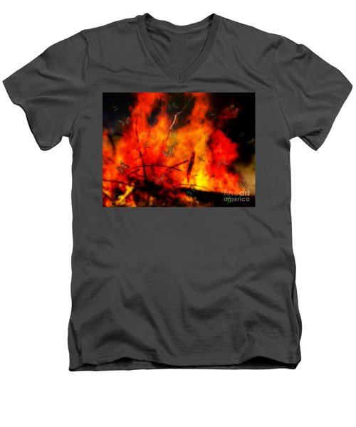 Butterflies And Flame Men's V-Neck T-Shirt