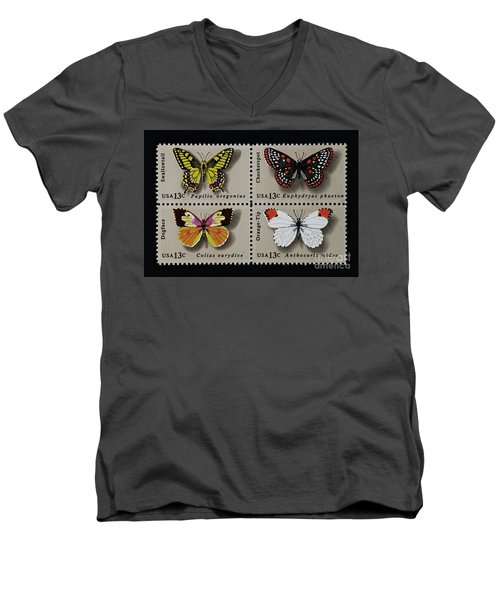Butterflies Postage Stamp Print Men's V-Neck T-Shirt by Andy Prendy