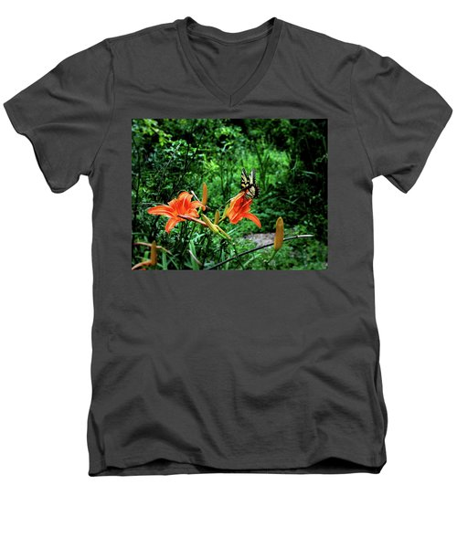 Butterfly And Canna Lilies Men's V-Neck T-Shirt by Cathy Harper
