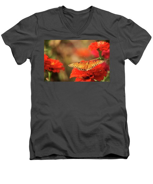 Men's V-Neck T-Shirt featuring the photograph Butterfly And Flower I by Donna G Smith