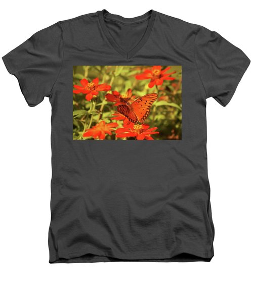 Men's V-Neck T-Shirt featuring the photograph Butterfly And Flower II by Donna G Smith