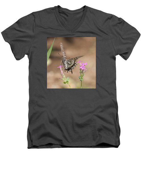 Butterfly And Flower Men's V-Neck T-Shirt