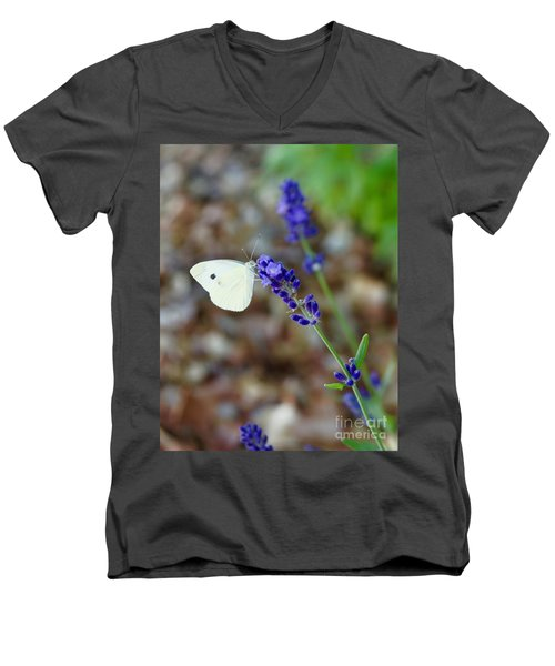 Butterfly And Lavender Men's V-Neck T-Shirt