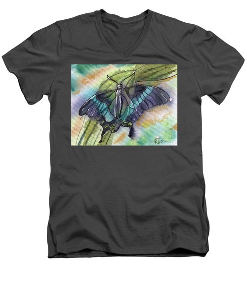 Men's V-Neck T-Shirt featuring the painting Butterfly Bamboo Black Swallowtail by D Renee Wilson