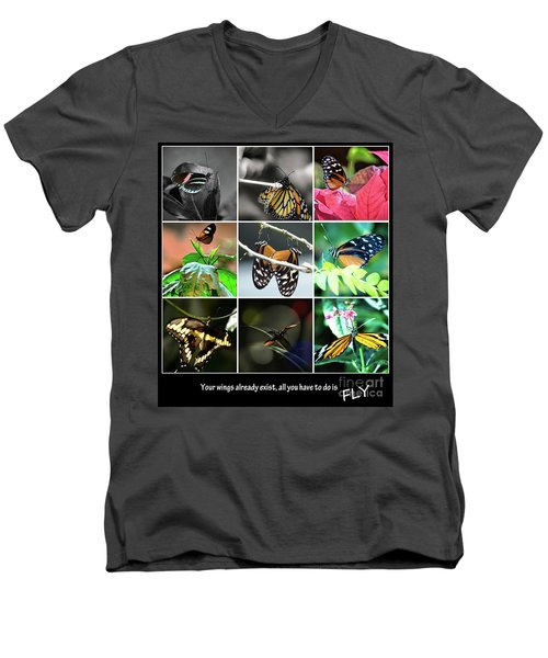 Butterfly Cluster Men's V-Neck T-Shirt by Deborah Klubertanz