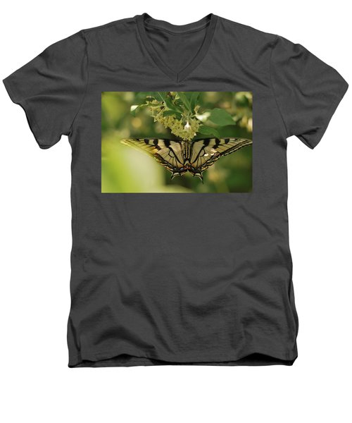 Men's V-Neck T-Shirt featuring the photograph Butterfly From Another Side by Susan Capuano