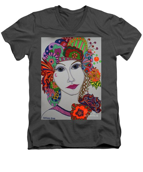 Men's V-Neck T-Shirt featuring the painting Butterfly Girl by Alison Caltrider