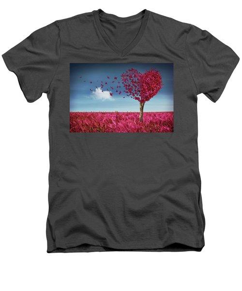 Butterfly Heart Tree Men's V-Neck T-Shirt