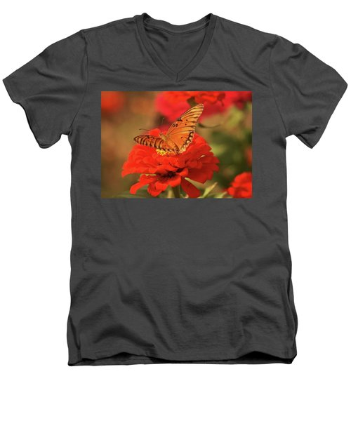 Men's V-Neck T-Shirt featuring the photograph Butterfly In Garden by Donna G Smith