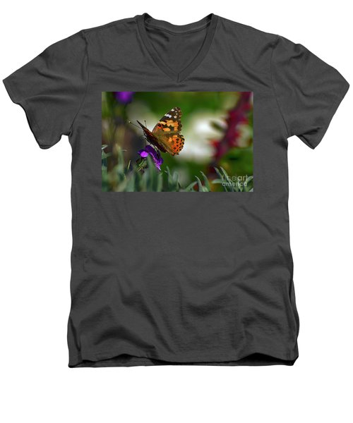 Men's V-Neck T-Shirt featuring the photograph Butterfly In Winter by Debby Pueschel