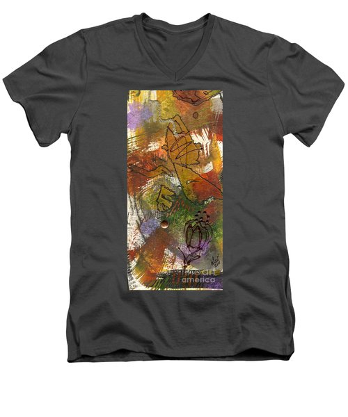 Men's V-Neck T-Shirt featuring the mixed media Butterfly Kisses by Angela L Walker