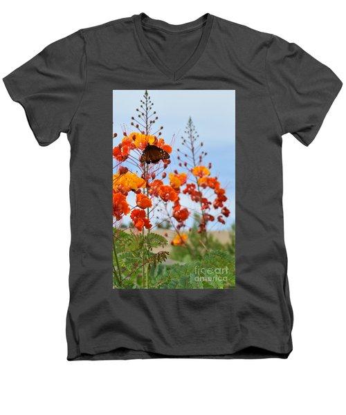 Butterfly On Bird Of Paradise Men's V-Neck T-Shirt