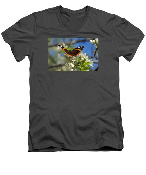 Butterfly On Blossoms Men's V-Neck T-Shirt by Steven Clipperton