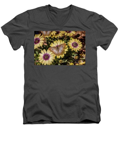 Butterfly On Blossoms Men's V-Neck T-Shirt