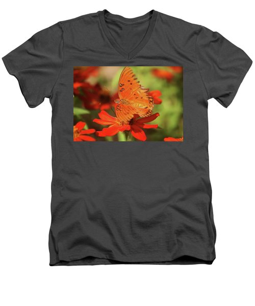 Men's V-Neck T-Shirt featuring the photograph Butterfly On Flower by Donna G Smith