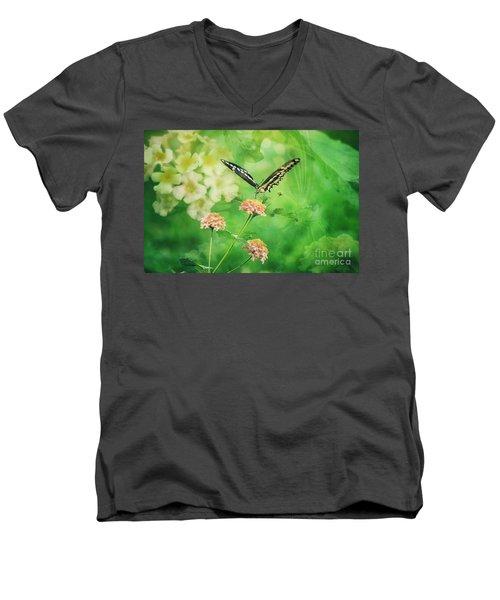 Butterfly On Lantana Montage Men's V-Neck T-Shirt