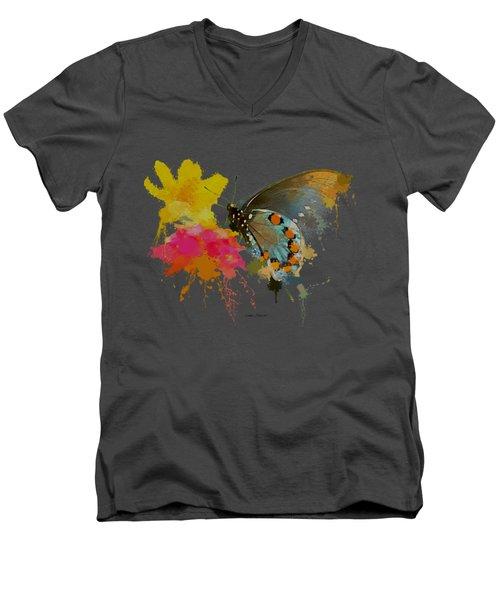 Butterfly On Lantana - Splatter Paint Tee Shirt Design Men's V-Neck T-Shirt