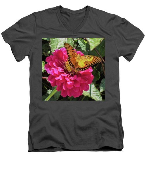 Butterfly On Pink Flower Men's V-Neck T-Shirt by Mark Barclay