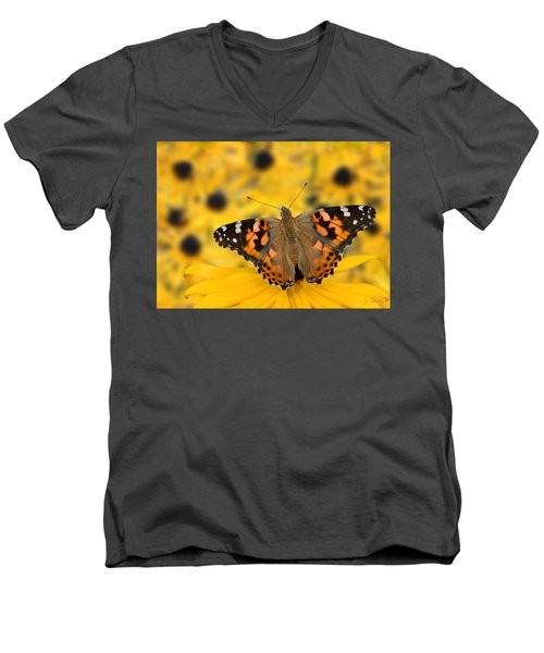 Butterfly On Rudbeckia Men's V-Neck T-Shirt