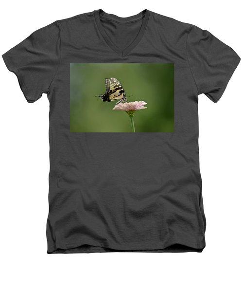 Butterfly On Zinnia Men's V-Neck T-Shirt