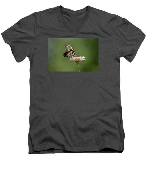 Men's V-Neck T-Shirt featuring the photograph Butterfly On Zinnia by Wanda Krack