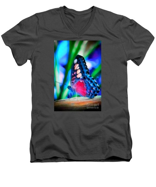 Butterfly Realistic Painting Men's V-Neck T-Shirt