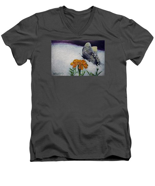 Butterfly Men's V-Neck T-Shirt by Ron Richard Baviello