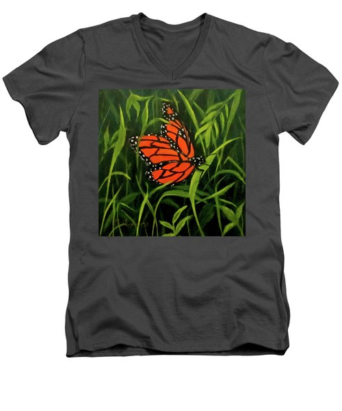Men's V-Neck T-Shirt featuring the painting Butterfly by Roseann Gilmore