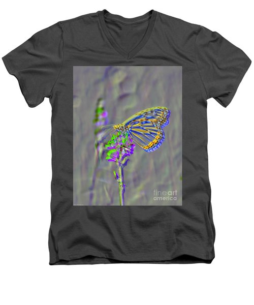 Men's V-Neck T-Shirt featuring the photograph Butterfly Study by Mitch Shindelbower