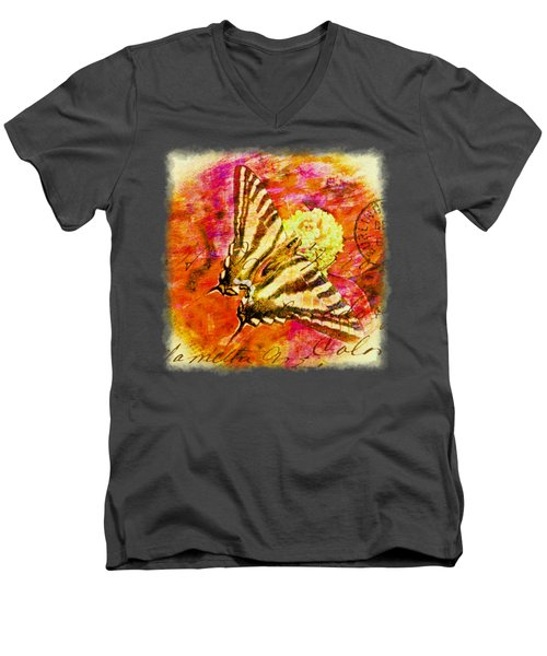 Butterfly T - Shirt Print Men's V-Neck T-Shirt by Debbie Portwood