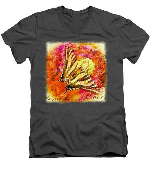 Butterfly T - Shirt Print Men's V-Neck T-Shirt