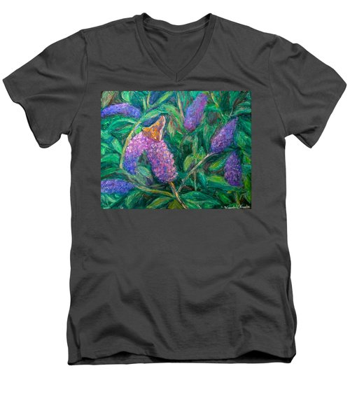 Men's V-Neck T-Shirt featuring the painting Butterfly View by Kendall Kessler