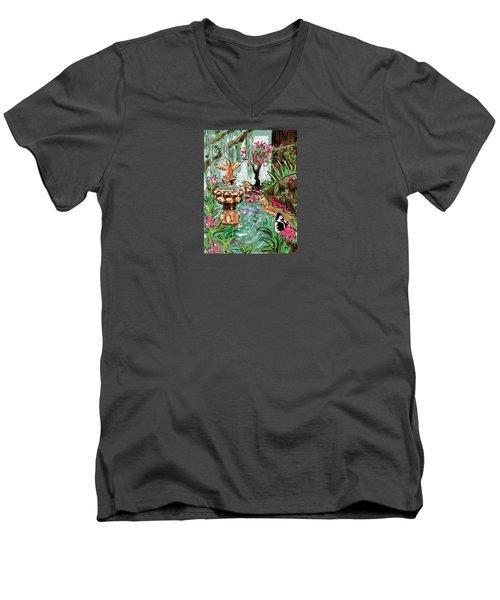 Butterfly World Men's V-Neck T-Shirt by Jean Pacheco Ravinski