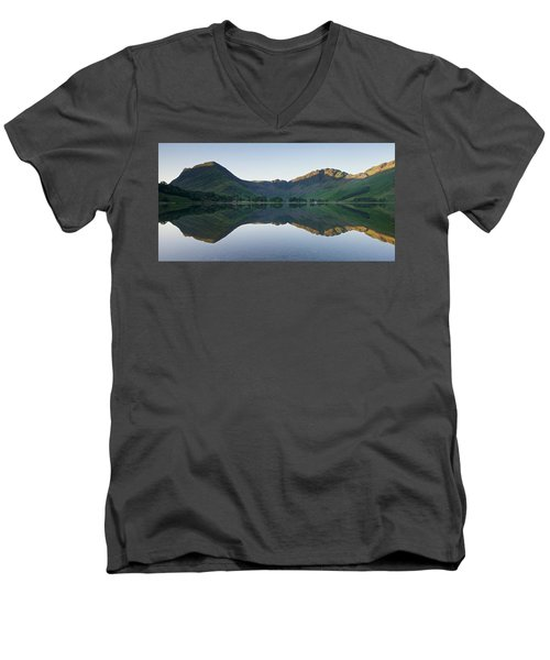 Buttermere Reflections Men's V-Neck T-Shirt by Stephen Taylor