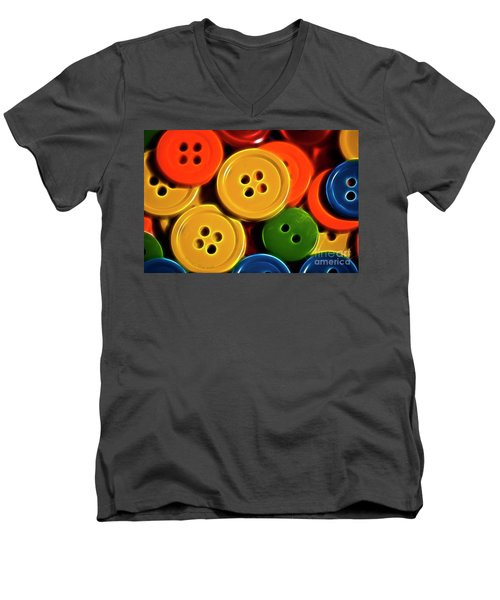 Men's V-Neck T-Shirt featuring the photograph Buttons by Linda Blair