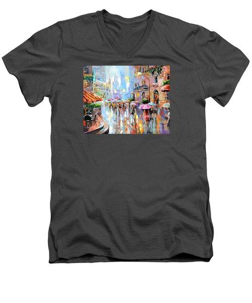 Buzy City Streets Men's V-Neck T-Shirt by Tim Gilliland