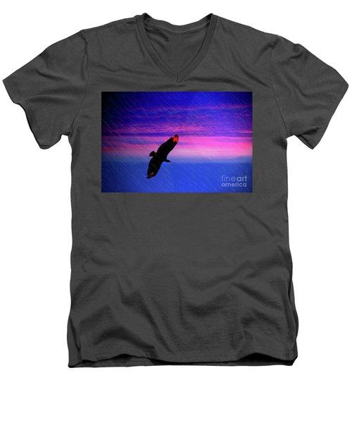 Men's V-Neck T-Shirt featuring the photograph Buzzard In The Rain by Al Bourassa