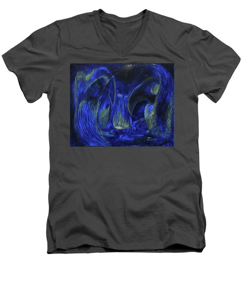 Men's V-Neck T-Shirt featuring the painting Buzzards Banquet by Christophe Ennis