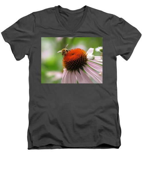 Men's V-Neck T-Shirt featuring the photograph Buzzing The Coneflower by Kimberly Mackowski