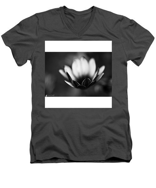 #bw #closeup #petals #someyearsago Men's V-Neck T-Shirt by Mandy Tabatt