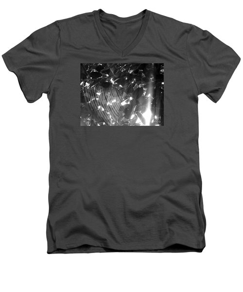 Men's V-Neck T-Shirt featuring the photograph Bw Shadow Threads by Megan Dirsa-DuBois