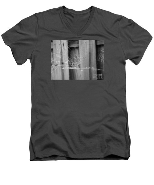 Men's V-Neck T-Shirt featuring the photograph Bw Spiderweb by Megan Dirsa-DuBois