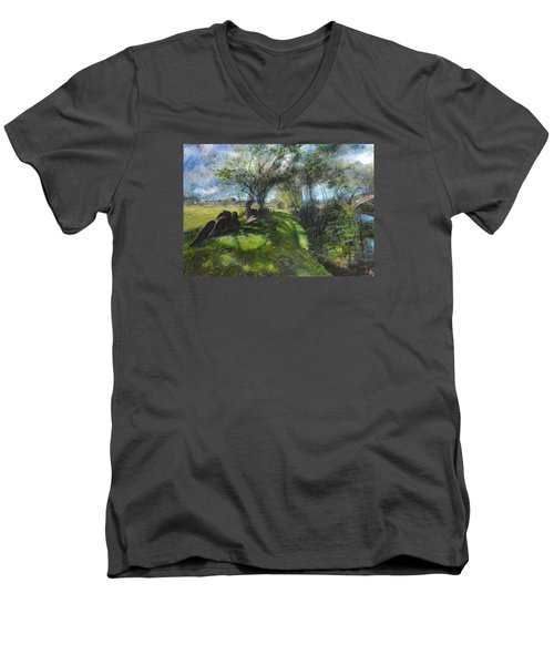 By The Dee Men's V-Neck T-Shirt by Harry Robertson