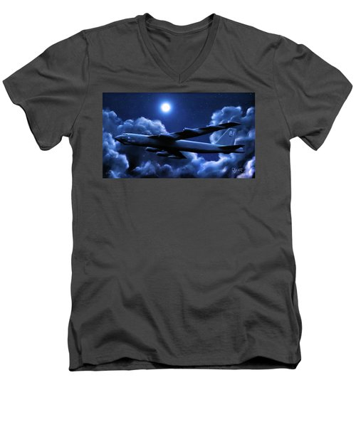 Men's V-Neck T-Shirt featuring the painting By The Light Of The Blue Moon by Dave Luebbert