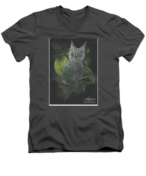 Men's V-Neck T-Shirt featuring the drawing By The Light Of The Moon by Carol Wisniewski