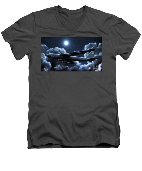 Men's V-Neck T-Shirt featuring the painting By The Light Of The Silvery Moon by Dave Luebbert